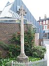 Church Road Teddington Cross outside Sts Peter and Paul.jpg