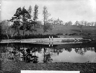 Cilgwyn Hall and Afon Teifi, Llandyfriog