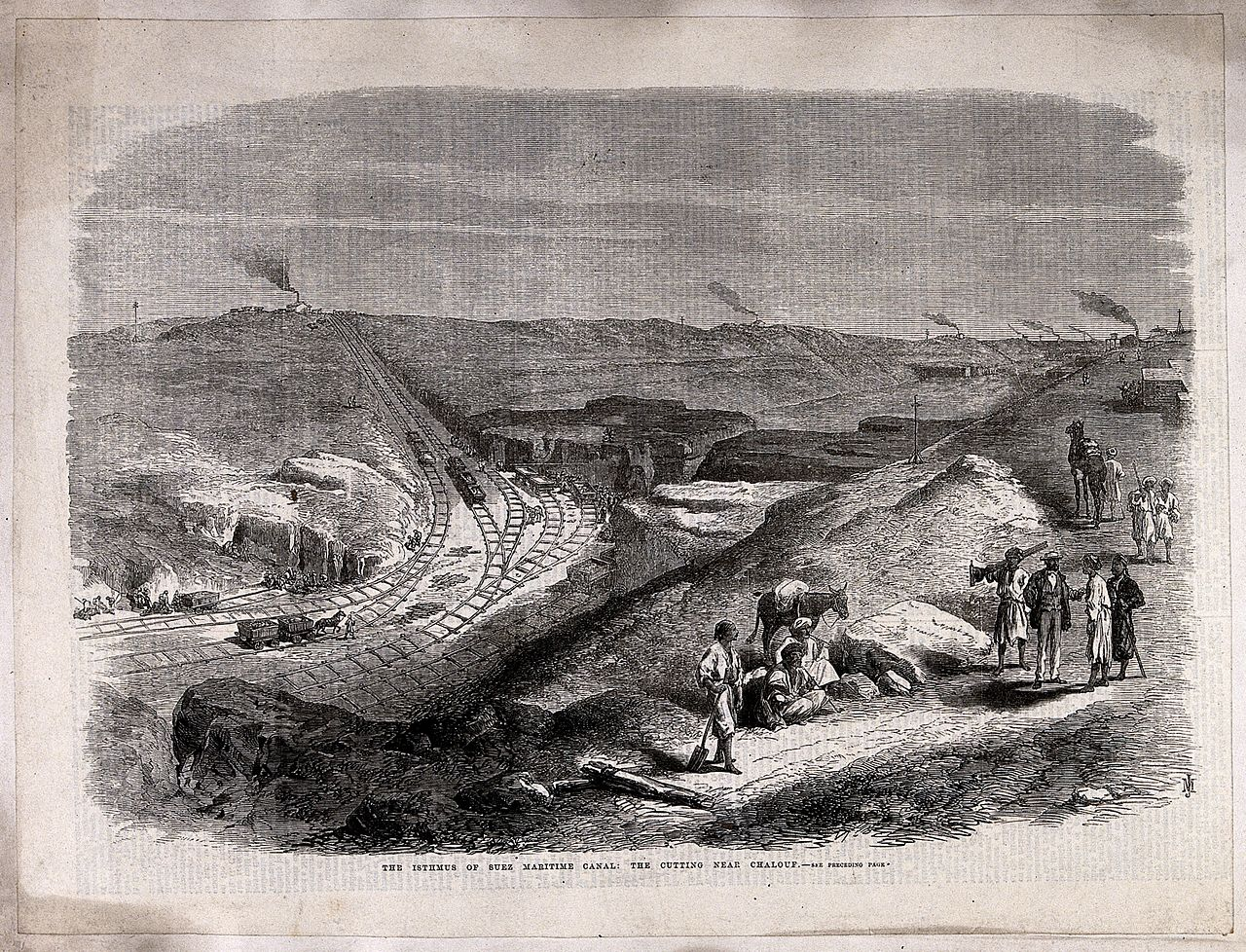 Civil engineering; work on the Suez canal. Wood engraving by Wellcome V0024392.jpg