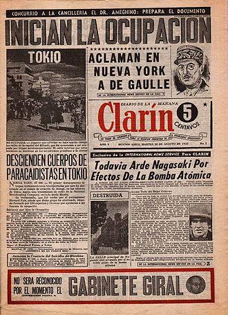 Clarín (Argentine newspaper) - Image: Clarin num 1 28ago 1945