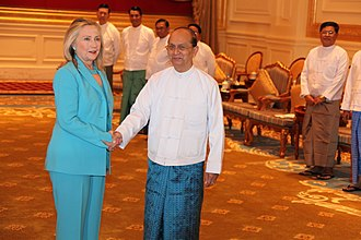 Thein Sein - United States Secretary of State Hillary Clinton meets with Burma's President Thein Sein in Naypyitaw, 1 December 2011.