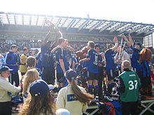 L'esultanza per la vittoria della Jupiler League nel 2005
