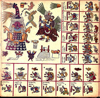 Codex Borbonicus - The original page 13 of the Codex Borbonicus, showing the 13th trecena of the Aztec sacred calendar.  This 13th trecena was under the auspices of the goddess Tlazolteotl, who is shown on the upper left wearing a flayed skin, giving birth to Cinteotl.  The 13 day-signs of this trecena, starting with 1 Earthquake, 2 Flint/Knife, 3 Rain, etc., are shown on the bottom row and the right column.