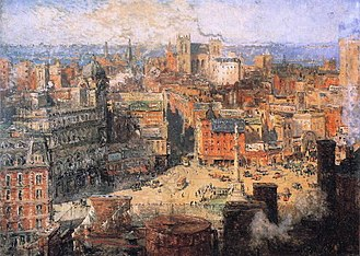 Majestic Theatre (Columbus Circle) - The Majestic Theatre is the large grey building on the left. 'Columbus Circle' (1909), by Colin Campbell Cooper.