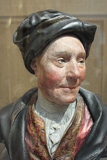 Colley Cibber c.1740, painted plaster bust, National Portrait Gallery, London.JPG