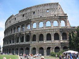To Κολοσσαίο της Ρώμης. Διακρίνεται το καλύτερα διατηρημένο τμήμα του.