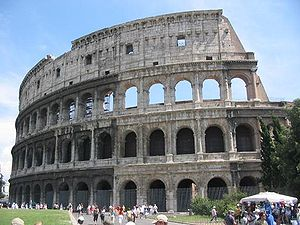 The Colosseum in Rome, Italy: an exterior view of the best-preserved section.