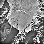 Columbia Glacier, Calving Terminus, Heather Island, Terentiev Lake, January 26, 1988 (GLACIERS 1421).jpg