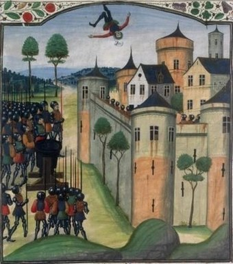 A colourful fourteenth century depiction of the siege of Auberoche, showing a man being fired back into the castle (by a trebuchet.)