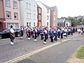 Combined bands in Canongate on Festival day eve to play eel.jpg