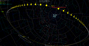 45P/Honda–Mrkos–Pajdušáková - This shows the path of the comet during August 2011, with daily motion drawn as spheres, scaled for relative distance from earth.