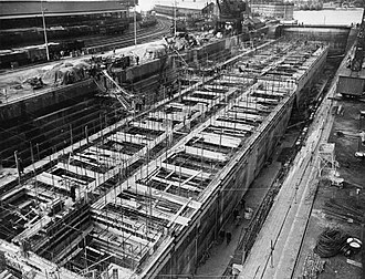 Mulberry harbour - Phoenix caissons under construction, Southampton 1944