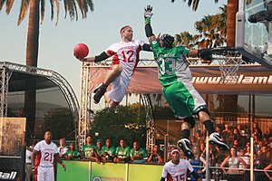 Slamball - Slashers Handler Corey Beezhold going in for a slam dunk.