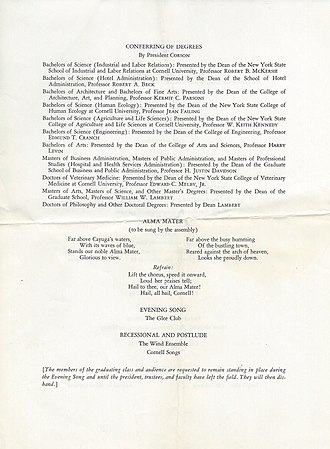 Far Above Cayuga's Waters - Lyrics to the alma mater as printed in the 1976 Cornell commencement program
