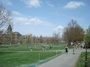 Cornell Central Campus - A view of the Arts Quad on a sunny spring day. The camera is positioned on the southeastern corner of the quadrangle and is facing northwest.