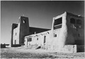 "Corner view showing mostly left wall, ""Church, Acoma Pueblo (National Historic Landmark, New Mexico)."" (Misicn de San Es - NARA - 519833.TIF"