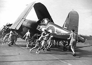 Operation Crimson - FAA Vought F4U Corsairs, the type of airplane used in the aerial attack.