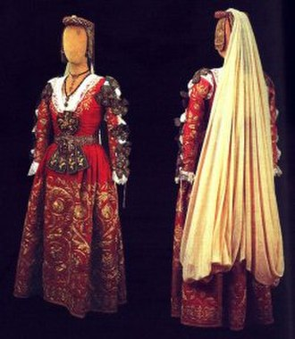 Piana degli Albanesi - (Ncilona) Traditional Arbëresh costume worn during the wedding ceremony performed according to the Byzantine rite.