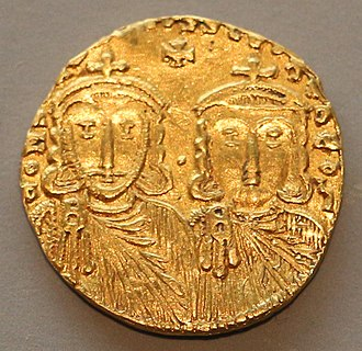 Constantine V - Gold solidus, Constantine V (left) and his son and co-emperor Leo IV (right)