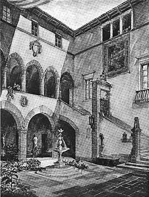 HDB/Cram and Ferguson - Image: Cram and Ferguson Currier Art Gallery proposal 1920, internal courtyard view