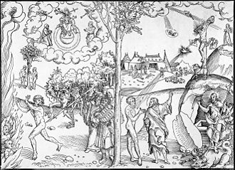 Law and Gospel - Law and Grace, a woodcut by Lucas Cranach the Elder, a Lutheran. The left side of the tree illustrates law, while the right side illustrates grace
