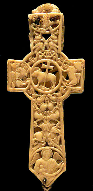 Ivory carving - 11th-century Anglo-Saxon ivory cross reliquary of walrus ivory