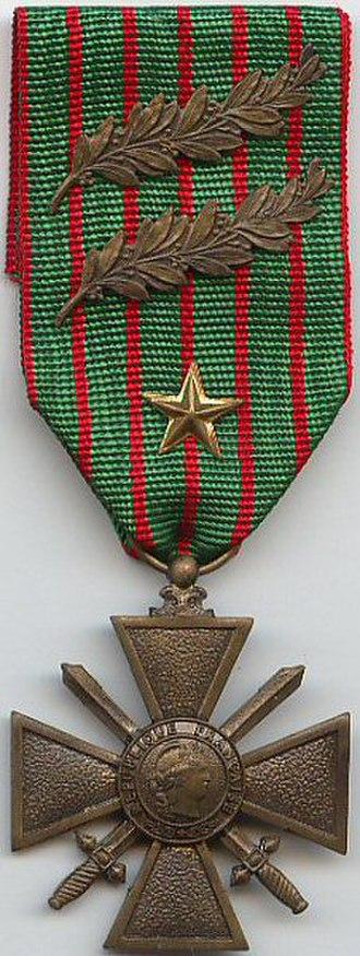 Croix de Guerre 1914–1918 (France) - 1914–1918 Croix de guerre with three citations 2 bronze palms 1 silver gilt star