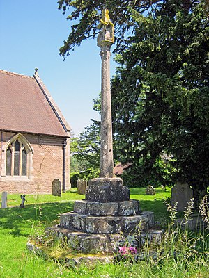 Church of St Mary, Bitterley - Stone cross in churchyard