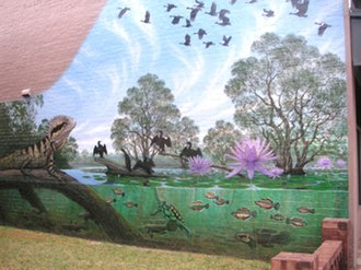 Croydon, New South Wales - Mural in Elizabeth St, Croydon, an artistic impression of what the area may have looked like prior to the arrival of the First Fleet