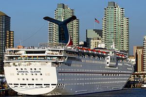 Cruise Ship Carnival Elation docked in Port of San Diego, California - March 2010.jpg