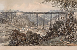 Crumlin Viaduct - Lithograph 1860