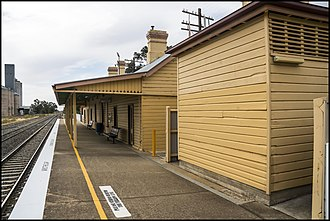 Culcairn railway station - CountryLink station sign in November 2009