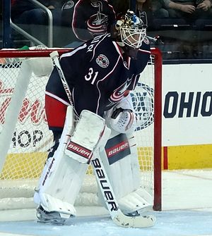 Curtis McElhinney - With the Columbus Blue Jackets