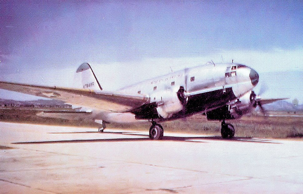 Curtiss C-46D Commando on a South Korean airstrip