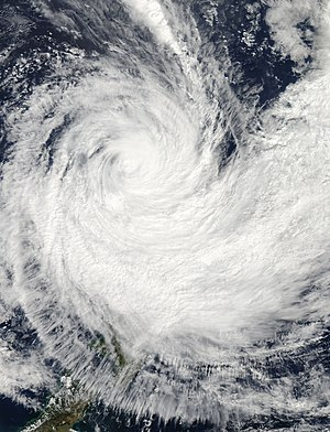 Cyclone Pam - Severe Tropical Cyclone Pam transitioning into an extratropical cyclone to the northeast of New Zealand on March 15