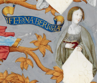 Berengaria of Portugal - Infanta Berengaria, in Antonio de Hollanda's Genealogy of the Royal Houses of Spain and Portugal (1530-1534)