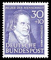 Briefmarke (1951) der Serie Helfer der Menschheit (Quelle: Wikimedia)