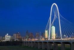 Named after Dallas philanthropist, the Margaret Hunt Hill Bridge spans the  Trinity River.