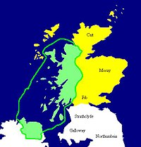 Map of Dál Riata at its height, c. 580–600. Later territory of King Somerled ancestor of the MacDonalds. Pictish regions are marked in yellow.