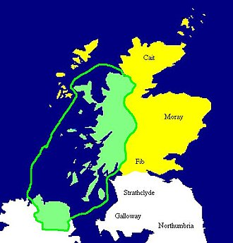 Dál Riata - Map of Dál Riata at its height, c. 580–600. Pictish regions are marked in yellow.