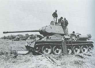 Ogaden War - A heavily damaged Somali National Army T-34 going through repairs