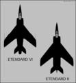 Dassault Etendard II and Etendard VI top-view silhouettes.png