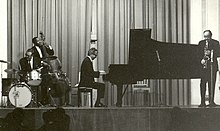 Wright (at left with upright bass) performing with the Dave Brubeck Quartet, 1967