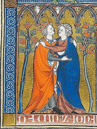 "David and Jonathan - David and Jonathan  The biblical account of David and Jonathan has been read by some as the story of two lovers.  ""La Somme le Roy"", 1290 AD; French illuminated ms (detail); British Museum"