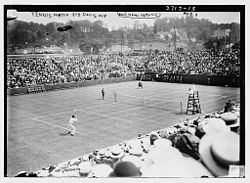 Davis Cup 1913 quarterfinal at the West Side Tennis Club, New York - Rice (Australasia) against McLoughlin (United States)