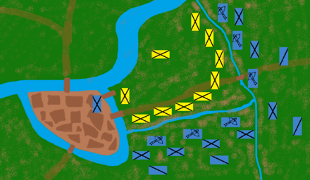 The initial positions of the Battle of the Golden Spurs De Guldensporenslag.png