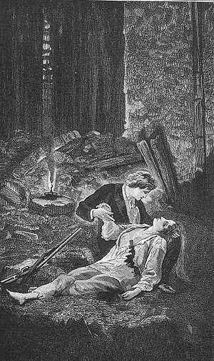 June Rebellion - The death of Éponine during the June Rebellion, illustration from Victor Hugo's Les Misérables.