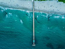 Deerfield Beach pier from above
