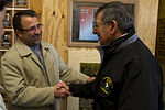Defense.gov News Photo 120313-D-TT977-443 - Secretary of Defense Leon E. Panetta is greeted by Helmand provincial governor Gulab Mangal during a visit to Camp Bastion Afghanistan on March.jpg
