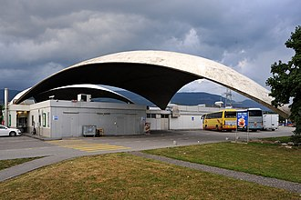 Heinz Isler - Highway service area Deitingen south, triangle concrete cupola roofs, (1968)